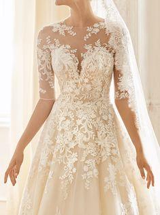 Amelia Sposa Wedding Dress, Wedding Dresses 2018, Wedding Bridesmaid Dresses, Bridal Dresses, Illusion Neckline Wedding Dress, Illusion Dress, Simple Elegant Wedding Dress, French Wedding Dress, Romantic Princess
