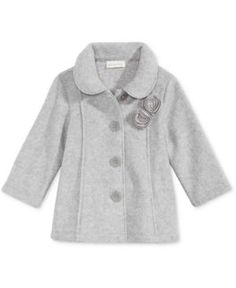 First Impressions Collared Microfleece Coat, Baby Girls (0-24 months), Only at Macy's - Gray 6-9 months