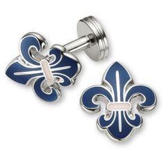 Navy Fleur de Lys enamel cufflinks  from Charles Tyrwhitt of Jermyn Street, London