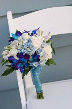 Jessica& bouquet was budget-friendly AND in her colors! Photo By: In The Now Weddings and Eventsvendors: In The Now Weddings and Events Prom Flowers, Purple Wedding Flowers, Flower Bouquet Wedding, Blue Flowers, Boquet, Bouquet Flowers, Blue Orchid Bouquet, Flower Colors, Wedding Colors