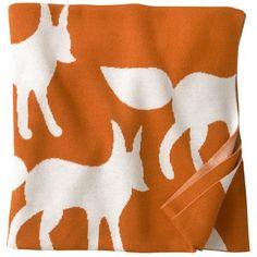 DwellStudio Kids Blanket Graphic Knit Foxes Orange found on Layla Grayce #laylagrayce #gift #dwellstudio