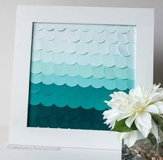 Fish Scale Wall Art with Paint Chips: http://www.completely-coastal.com/2016/02/fish-scale-wall-art-inspired-by-sea.html