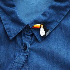 Brooch Toucan / Brooch Embroidery / Brooch Bird / Toucan