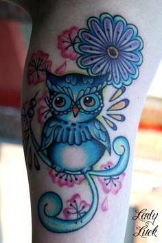 ~Owl~ looooove it All Tattoos, Body Art Tattoos, Tatoos, Owl Tattoo Design, Tattoo Designs, Color Tattoo, I Tattoo, Baby Owl Tattoos, Friend Tattoos