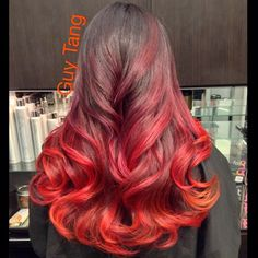 I created a fire ombré today inspired by the Dark Phoenix from X-Men ,I love when my clients trust me with whatever color choice I decide for them! Trusting your stylist is key to building a good relationship #guytang #guy_tang #guytanghair #ombrehair #ombre #redhair #fireombre #hairgasm #hairporn #hollywood #hair