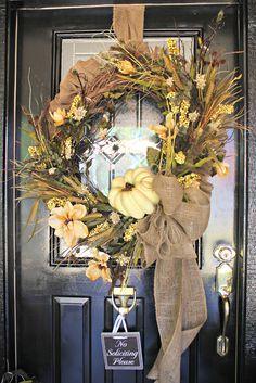 wheat front door wreaths | ... THANKSGIVING. FALL BURLAP AND WHITE PUMPKIN WREATH FOR FRONT DOOR