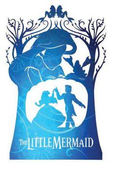 The Little Mermaid Free Printable Disney Story Books Arte Disney, Disney Fan Art, Disney Magic, Disney Princess Silhouette, Little Mermaid Silhouette, Disney And Dreamworks, Disney Pixar, Disney Films, Disney Little Mermaids