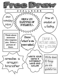 Art free draw ideas for homework