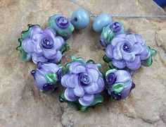 Glass Lampwork Beads Lavender Roses SRA 449 by CC by carolynsbeads, $30.00