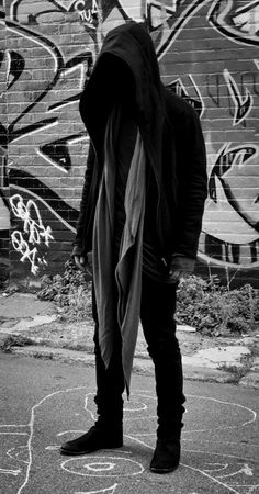 Like the hood and loose jacket/robe with wraith-ish scarf hanging out! Maybe all black except for red scarf?