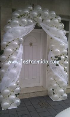 Festive wedding balloon arch