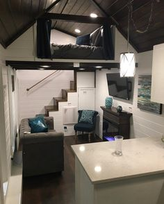 Tiny House Inspiration: Back stairs up to a partially enclosed loft. I've never seen stairs at the BACK of a loft before! Love it.