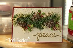 Christmas cards Stampin Up - Pretty Pines Thinlits, Softly falling Embossing folder and Christmas Greetings Thinlits.