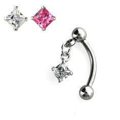 316L surgical Steel Dangling Floating Square Gem Curved Barbell Tragus - Pierced Universe