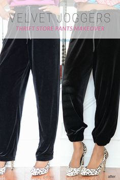 fall / winter outfit idea: black velvet drawstring joggers worn with ankara print top and heels, update old thrift store pants into joggers, this is an easy tutorial to turn a normal pair of thrift store pants into a cute and on-trend pair of velvet jogge