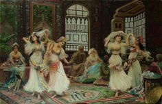 Dancers in the harem. Fabio Fabbi (Italian, 1861-1946) The present scene depicts one of Fabbi's favourite themes: Raks Baladi, the popular folk dance of Egypt which is believed to have mothered all Oriental dance. During his trip to Egypt in 1886, Fabbi would have witnessed the skilful women performing Raks Baladi as it was enjoyed at festivals, in the home, and in the living quarters for casual entertainment. The depiction of the dancers is true to what Fabbi would have seen in Cairo.