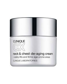Clinique cx neck & chest de-aging cream 0.5oz/15ml **travel size** by Clinique. $9.99. In 4 weeks, visibly, measurably rebuilds natural collagen cushion.  For best results, apply day and night, smoothing over neck and chest in an upward motion. Make daily sunscreen a habit to help stall visible aging and UV-induced damage to age-prone skin.