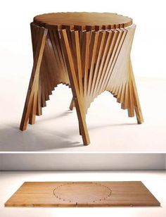 Rising side table: by Robert Van Embricqs: the table goes to completely flat. http://design-milk.com/rising-side-table-by-robert-van-embricqs/
