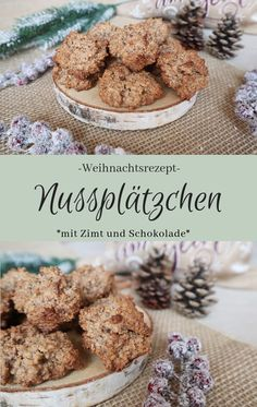 Nussplätzchen mit Schokolade und Zimt – The inspiring life Recipe: Delicious nut cookies with chocolate and cinnamon – great alternative to the well-known nut macaroons cookies biscuits Homemade Pumpkin Puree, Homemade Cake Recipes, Pound Cake Recipes, Pumpkin Recipes, Baking Recipes, Bisque Recipe, Cooking Pumpkin, Cheesecake, Nutritious Snacks