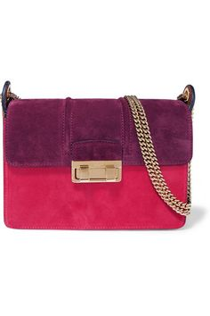 Lanvin | Ji Ji small color-block suede shoulder bag | NET-A-PORTER.COM