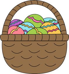 Easter basket filled with Easter eggs.
