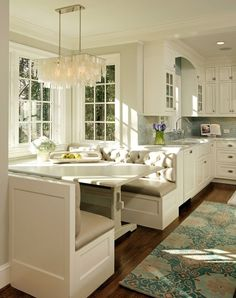 pretty kitchen - the tufted seats, light, natural light, colors, etc.