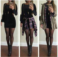 Look vestido preto, vestido de veludo preto, roupas descoladas, roupas de o Edgy Outfits, Mode Outfits, Cute Casual Outfits, Dress Outfits, Fashion Outfits, Dress Fashion, Outfits With Tights, Black Bodycon Dress Outfit, Black Tights Outfit
