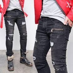Damaged Seaming Zipper Skinny Biker-Jeans 285 - GUYLOOK
