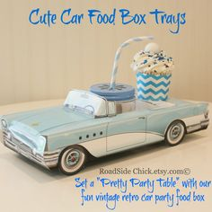 Blue Retro Car Food Boxes 10 Cute Kids Party by RoadSideChick