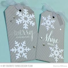 Hand Lettered Holiday, Diagonal Stripes Background, Let It Snowflake Die-namics, Stitched Traditional Tag STAX Die-namics - Donna Mikasa  #mftstamps