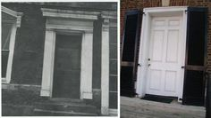 Before and after restoration of the front door at the Mary Todd Lincoln House in Lexington, KY