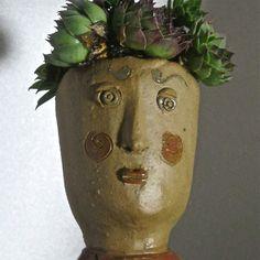 Ceramic Face Pot Head Planter with swirl dress by dianehawkey, $35.00