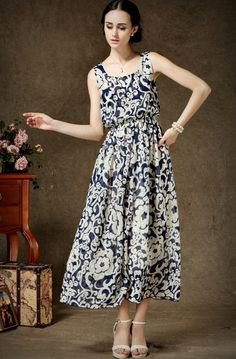 Blue Sleeveless Floral Maxi Chiffon Dress pictures