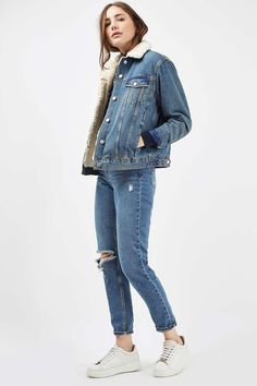 MOTO Oversize-Jeansjacke mit Teddyfutter   Topshop