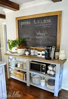 microwave and coffee station; half the size with white and dark stain; two wall shelves instead of chalk board