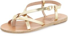 Ancient Greek Sandals Semele Strappy Flat Sandal, Gold