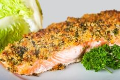 Pistachio-Dusted Salmon with Avocado and Black Olive Oil - Click for Recipe
