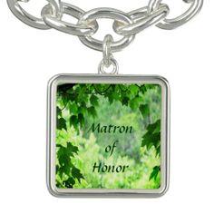 Leafy Wedding Matron of Honor Charm Bracelets