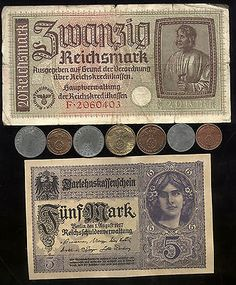 Rare Very Old Antique Nazi Germany Swastika War Coin Banknote Collection Lot