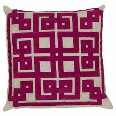 Showcasing a chic linen cover and artful cotton detail, this eye-catching pillow adds a plush pop of color to your sofa or favorite arm chair.    Product: PillowConstruction Material: Linen, cotton cover and polyester fillColor: Oatmeal and raspberryFeatures:  Insert includedMade in India Cleaning and Care: Blot stains
