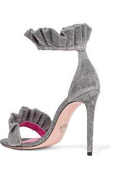 f3591ed36b3 Oscar Tiye - Antoinette ruffle-trimmed textured-lamé sandals. Strap Heels Ankle ...