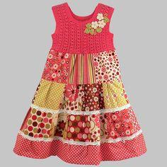 Платья для девочек: лоскутное шитьё + вязание - Ярмарка Мастеров - ручная работа, handmade