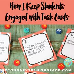 How I Keep Students Engaged with Task Cards (Secondary Spanish Space) Spanish Teaching Resources, Spanish Activities, Language Activities, Spanish Games, Learning Activities, Teaching Ideas, Spanish Songs, Creative Teaching, Teaching Strategies