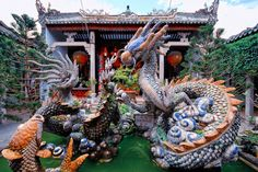 Dragon fountain at the back of the Cantonese Assembly Hall (Quang Trieu). Hoi An Ancient Town pagodas. Quang Nam province, South Central Coast, Vietnam