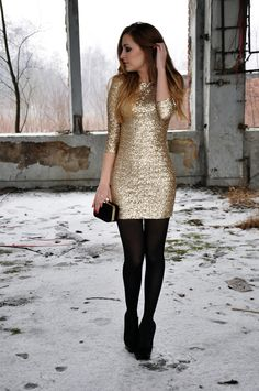 Gold Dress Black Tights