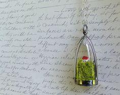 Terrarium Moss Cottage Sterling Silver Necklace