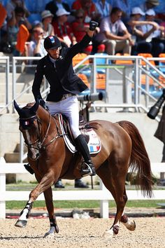 Kevin Staut of France rides Reveur de Hurtebise during the Jumping Team Round 2…
