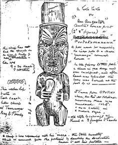 "Teko teko figure T. ""The Maori"" Alexander Turnbull Library qMS/ca. Tiki Art, Tiki Tiki, Ohm Tattoo, Treble Clef Tattoo, Nz History, Maori Designs, Year 8, Maori Art, Carving Designs"