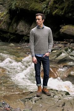 Jayross is wearing: uniqlo chambray, Gap cable knit sweater, timex easy reader, uniqlo skinny fit tapered indigo jeans, ll bean boots,