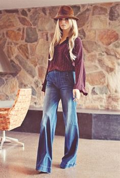 High waisted denim flare. Not for me, but hoards of respect for those who can.